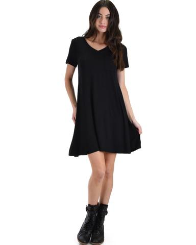 Lyss Loo Better Together Black Shirt Tunic Dress With Pocket - Jeanetteshus