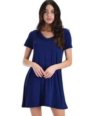 Lyss Loo Better Together Navy Shirt Tunic Dress With Pocket - Jeanetteshus