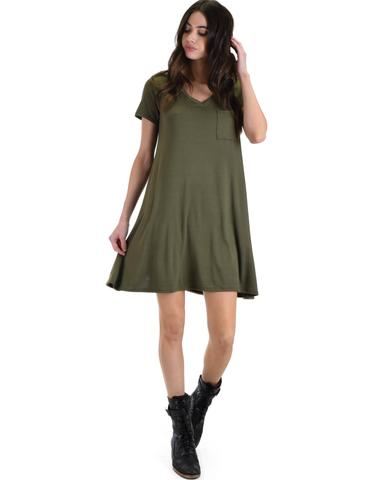 Lyss Loo Better Together Olive Shirt Tunic Dress With Pocket - Jeanetteshus