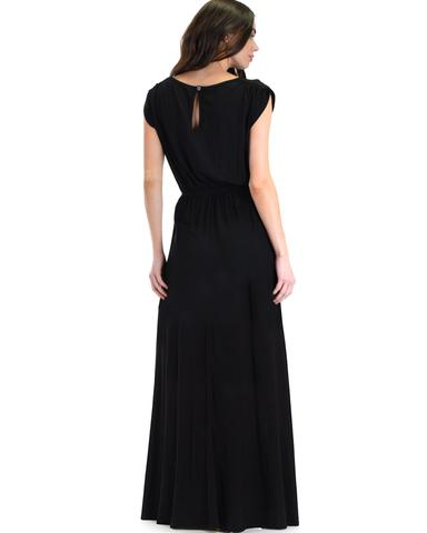 Lyss Loo Timeless Black Maxi Dress With Elastic Waist & Side Slit - Jeanetteshus