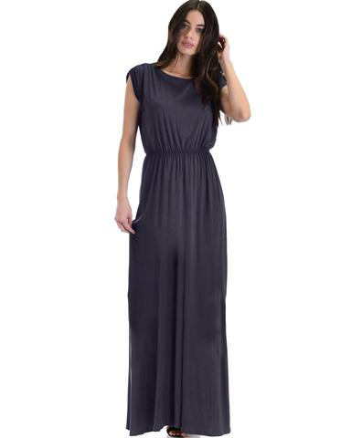 Lyss Loo Timeless Charcoal Maxi Dress With Elastic Waist & Side Slit - Jeanetteshus