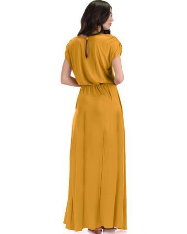 Lyss Loo Timeless Mustard Maxi Dress With Elastic Waist & Side Slit - Jeanetteshus