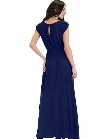 Lyss Loo Timeless Navy Maxi Dress With Elastic Waist & Side Slit - Jeanetteshus