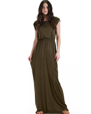 Lyss Loo Timeless Olive Maxi Dress With Elastic Waist & Side Slit - Jeanetteshus