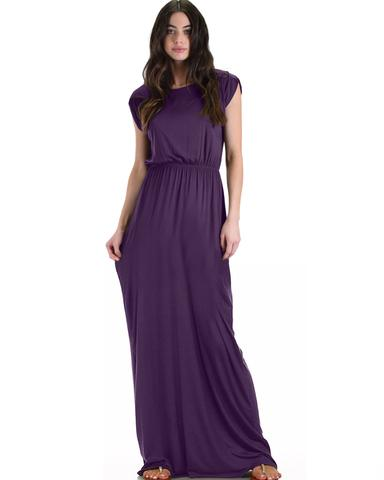 Lyss Loo Timeless Purple Maxi Dress With Elastic Waist & Side Slit - Jeanetteshus