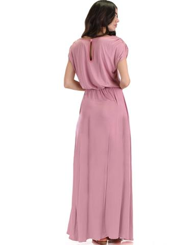 Lyss Loo Timeless Rose Maxi Dress With Elastic Waist & Side Slit - Jeanetteshus
