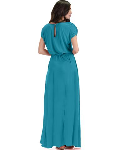 Lyss Loo Timeless Teal Maxi Dress With Elastic Waist & Side Slit - Jeanetteshus