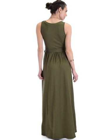 Lyss Loo All Mine Sleeveless Crossover Olive Wrap Maxi Dress - Jeanetteshus