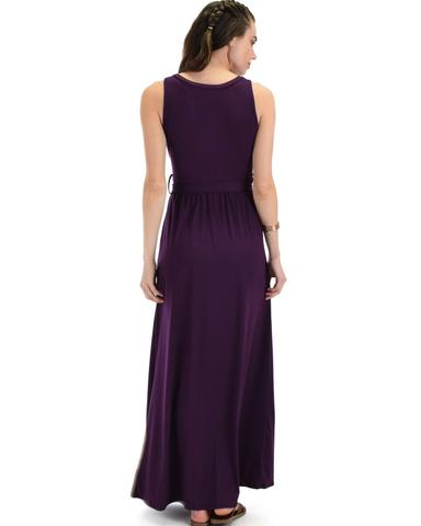 Lyss Loo All Mine Sleeveless Crossover Purple Wrap Maxi Dress - Jeanetteshus