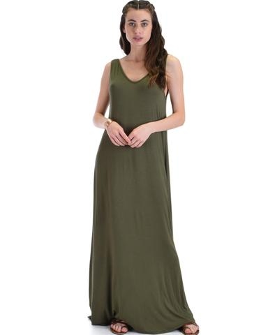 Lyss Loo Lost In Paradise Sleeveless Deep V-Neck Olive Shift Maxi Dress - Jeanetteshus