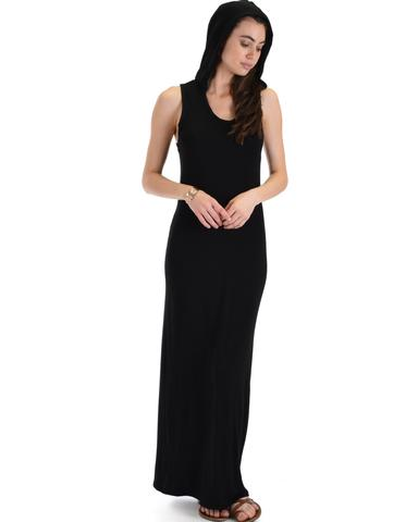 Lyss Loo Ascension Contemporary Black Hooded Maxi Dress - Jeanetteshus