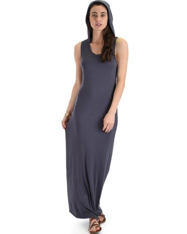 Lyss Loo Ascension Contemporary Charcoal Hooded Maxi Dress - Jeanetteshus