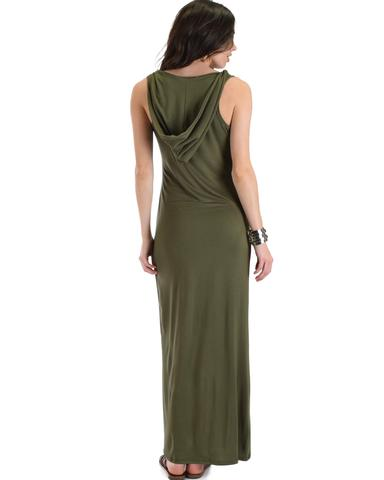 Lyss Loo Ascension Contemporary Olive Hooded Maxi Dress - Jeanetteshus