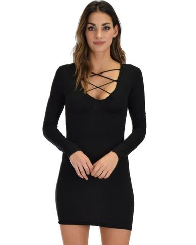 Lyss Loo Heart's Content Long Sleeve Cross Straps Black Bodycon Dress - Jeanetteshus
