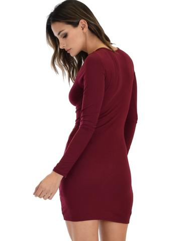 Lyss Loo Heart's Content Long Sleeve Cross Straps Burgundy Bodycon Dress - Jeanetteshus