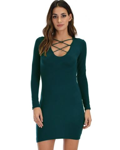 Lyss Loo Heart's Content Long Sleeve Cross Straps Green Bodycon Dress - Jeanetteshus