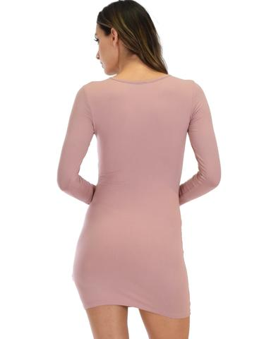 Lyss Loo Heart's Content Long Sleeve Cross Straps Mauve Bodycon Dress - Jeanetteshus