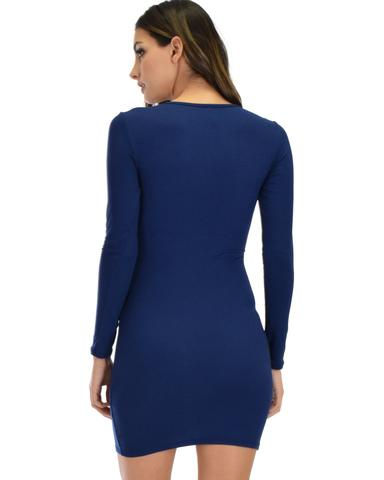 Lyss Loo Heart's Content Long Sleeve Cross Straps Navy Bodycon Dress - Jeanetteshus