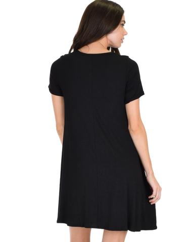 Lyss Loo Reporting For Cutie Black T-Shirt Tunic Dress - Jeanetteshus