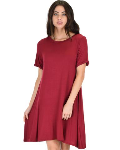 Lyss Loo Reporting For Cutie Burgundy T-Shirt Tunic Dress - Jeanetteshus
