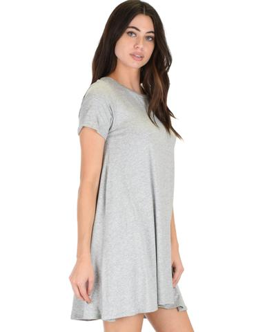 Lyss Loo Reporting For Cutie Grey T-Shirt Tunic Dress - Jeanetteshus