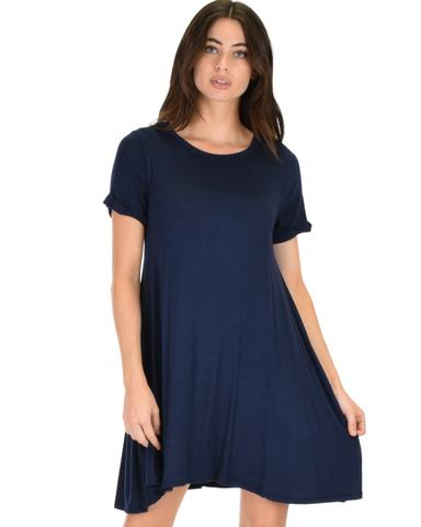 Lyss Loo Reporting For Cutie Navy T-Shirt Tunic Dress - Jeanetteshus