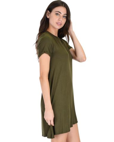 Lyss Loo Reporting For Cutie Olive T-Shirt Tunic Dress - Jeanetteshus