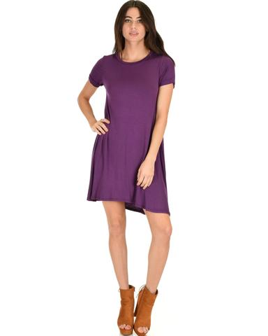 Lyss Loo Reporting For Cutie Purple T-Shirt Tunic Dress - Jeanetteshus