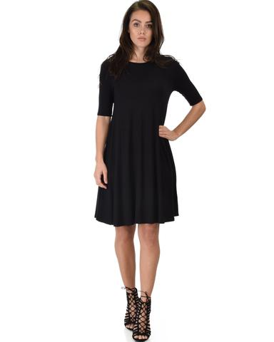 Lyss Loo Reporting For Cutie 3/4 Sleeve Black T-Shirt Tunic Dress - Jeanetteshus