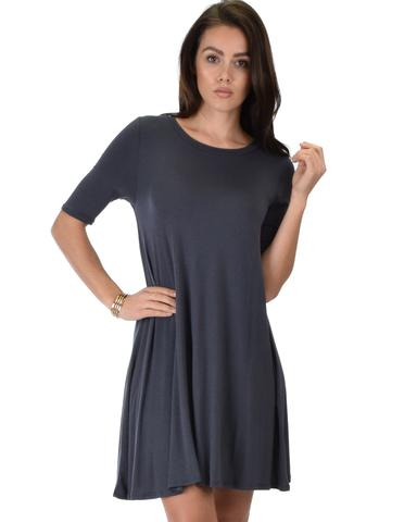 Lyss Loo Reporting For Cutie 3/4 Sleeve Charcoal T-Shirt Tunic Dress - Jeanetteshus