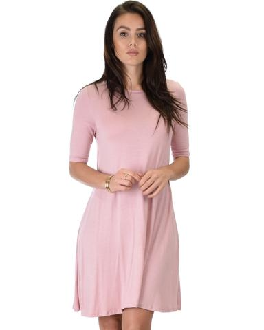 Lyss Loo Reporting For Cutie 3/4 Sleeve Mauve T-Shirt Tunic Dress - Jeanetteshus