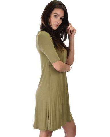 Lyss Loo Reporting For Cutie 3/4 Sleeve Olive T-Shirt Tunic Dress - Jeanetteshus