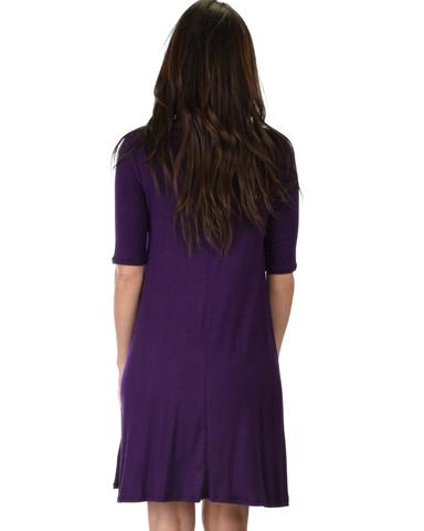 Lyss Loo Reporting For Cutie 3/4 Sleeve Purple T-Shirt Tunic Dress - Jeanetteshus