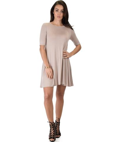 Lyss Loo Reporting For Cutie 3/4 Sleeve Taupe T-Shirt Tunic Dress - Jeanetteshus