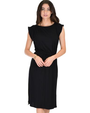 Lyss Loo My Everyday Tie Waist Black Midi Dress - Jeanetteshus
