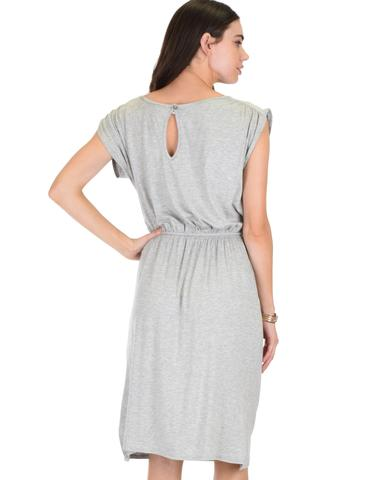 Lyss Loo My Everyday Tie Waist Grey Midi Dress - Jeanetteshus
