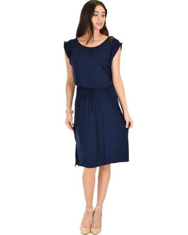 Lyss Loo My Everyday Tie Waist Navy Midi Dress - Jeanetteshus