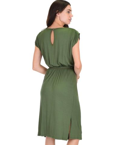Lyss Loo My Everyday Tie Waist Olive Midi Dress - Jeanetteshus