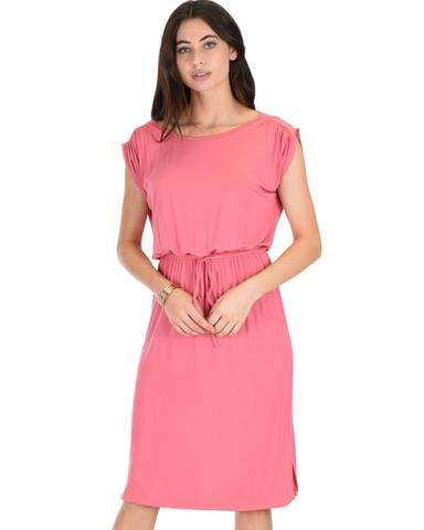 Lyss Loo My Everyday Tie Waist Pink Midi Dress - Jeanetteshus