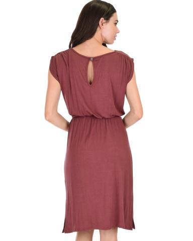 Lyss Loo My Everyday Tie Waist Marsala Midi Dress - Jeanetteshus
