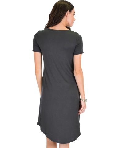 Lyss Loo Truly Madly Deep-V Neck Charcoal Sleep Dress - Jeanetteshus