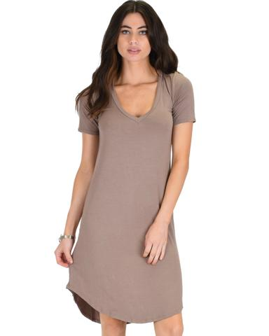 Lyss Loo Truly Madly Deep-V Neck Taupe Sleep Dress - Jeanetteshus