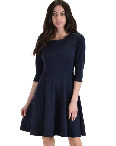 Lyss Loo So Good Navy Scallop Neck Line Skater Dress - Jeanetteshus