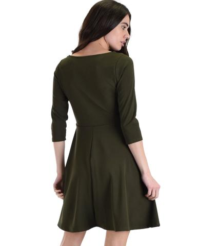 Lyss Loo So Good Olive Scallop Neck Line Skater Dress - Jeanetteshus