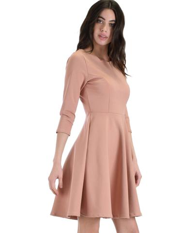 Lyss Loo So Good Rose Scallop Neck Line Skater Dress - Jeanetteshus