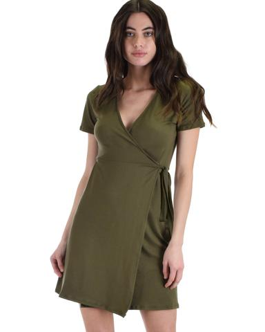 Lyss Loo Don't Tell 'Em Olive Wrap Dress - Jeanetteshus