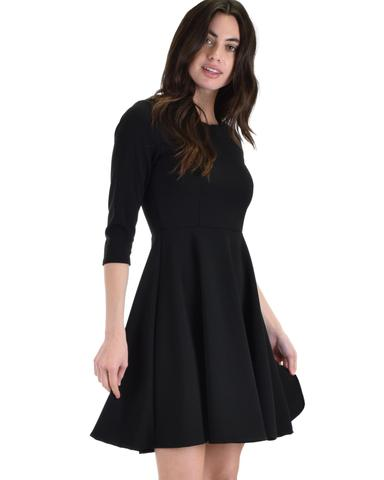 Lyss Loo So Good Black Scallop Neck Line Skater Dress - Jeanetteshus