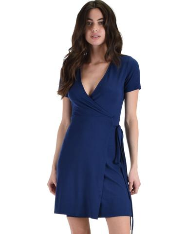 Lyss Loo Don't Tell 'Em Navy Wrap Dress - Jeanetteshus