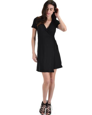 Lyss Loo Don't Tell 'Em Black Wrap Dress - Jeanetteshus