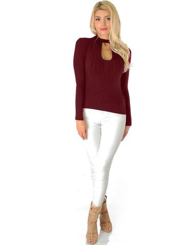 Lyss Loo Glamorous Ribbed Burgundy Long Sleeve Cut-Out Top - Jeanetteshus